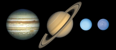 The gas giants: Jupiter, Saturn, Uranus, and Neptune