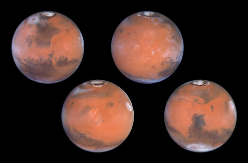 Four different orientations of the surface of Mars, imaged by the Hubble Space Telescope in 1999