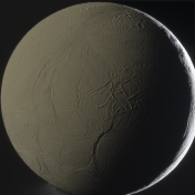 Enceladus, illuminated by direct sunlight (on the right) and by reflected sunlight from Saturn (on the left)