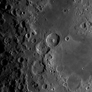 Overlapping craters Theophilus (right) and Cyrillus (left)