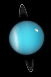 Uranus and its ring system, seen by the Hubble Space Telescope in 2003