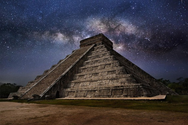 The Milky Way over Chichen Itza on the Yucatán peninsula, one of the largest cities of the Maya civilization