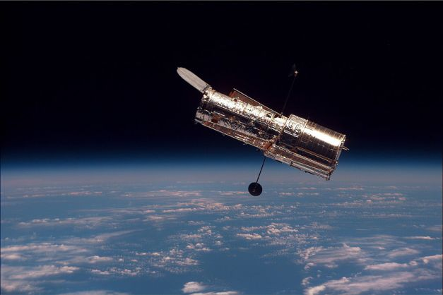 The Hubble Space Telescope, photographed from Space Shuttle Discovery in 1997