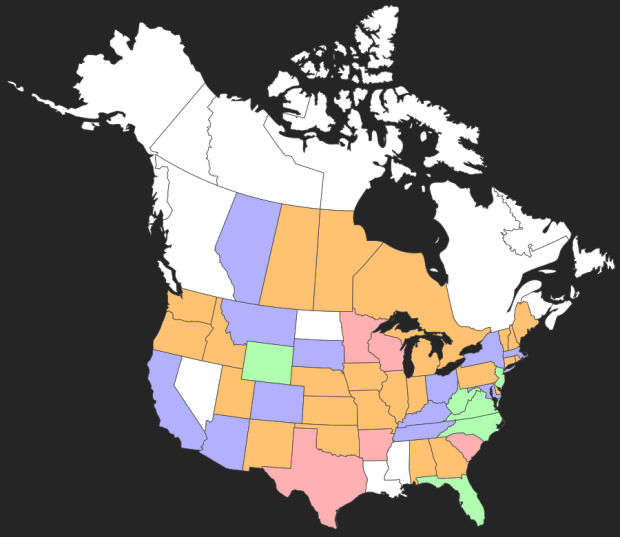 States visited map - 2015:11